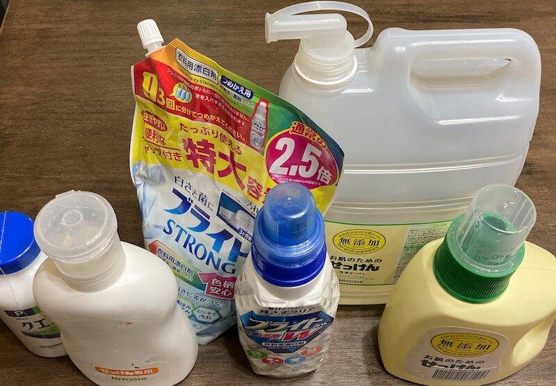 石鹸でできた製品達と酸素系漂白剤
